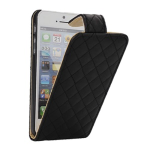 Elegant Rhombus Magnetic Flip Vertical Leather Case Cover for iPhone 5 - Black