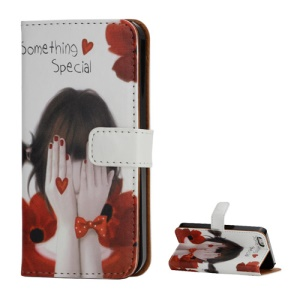 Stand Wallet Leather Case for iPhone 5 5s Girl Covring Face with Hands Design