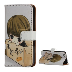 Sweet Girl Folio Wallet Leather Cover Case with Stand for iPhone 5 5s