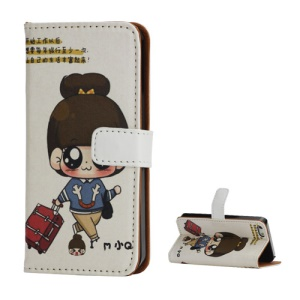 Travelling Girl Wallet Style Stand Leather Case Cover for iPhone 5 5s