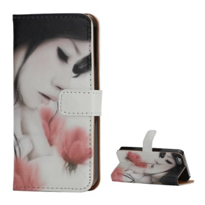 Aesthetic Beauty & Flower Card Slots Stand Leather Case for iPhone 5 5s