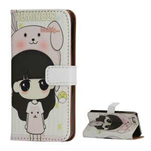 Little Girl Wearing Bunny Hat Leather Wallet Case for iPhone 5 5s with Stand Function