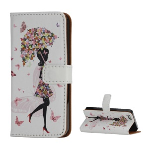 Pretty Girl & Butterfly Wallet Folio Leather Cover with Stand for iPhone 5 5s