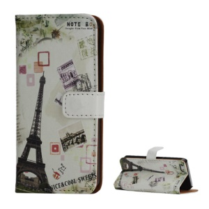 Eiffel Tower Postcard Design Card Holder Leather Stand Case for iPhone 5 5s