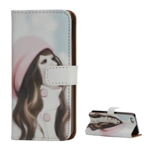 Wallet Leather Case for iPhone 5 5s Aesthetic Pretty Girl Wearing Hat Painted