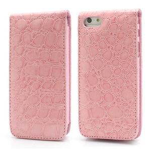 Crocodile Vertical Flip PU Leather Wallet Case for iPhone 5 5s - Pink