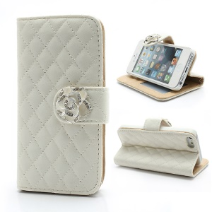 Diamond Flower Rhombus for iPhone 5 5s Stand Leather Case Wallet - White
