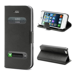 Litchi Grain Display Caller ID Folio Leather Case with Stand for iPhone 5 - Black
