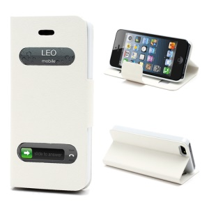 Litchi Grain Display Caller ID Folio Leather Case with Stand for iPhone 5 - White