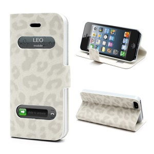 Table Talk Caller ID Leopard Leather Folio Stand Case Cover for iPhone 5 - White