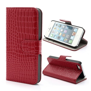 Crocodile Texture Folio For iPhone 5 5s Leather Wallet Case Cover w/ Stand - Red