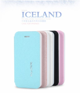 KLD Iceland Series Ultra-slim Folio Leather Case Accessories for iPhone 5 5s;Blue
