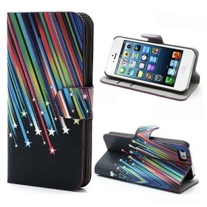 Meteor Shower Wallet Leather Case Cover with Stand for iPhone 5 5s