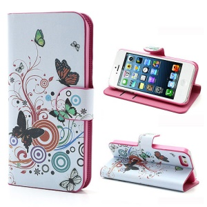 Vivid Butterfly Circle Leather Case with Stand & Wallet for iPhone 5 5s