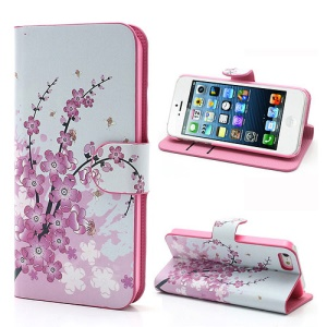 Pink Plum Magnetic Leather Case Cover with Card Slots & Stand for iPhone 5 5s