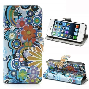 iPhone 5 5s Credit Card Wallet Leather Case with Stand Colorful Flowers Pattern