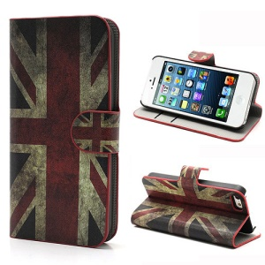 iPhone 5 5s Vintage Union Jack Flag Magnetic Wallet Leather Case Stand