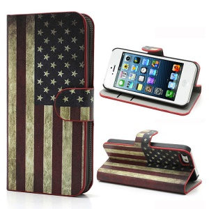 Retro USA American National Flag Card Slot Leather Stand Cover for iPhone 5 5s