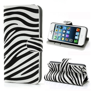 Modish Zebra Stripe Pattern Leather Case Cover w/ Card Slots & Stand for iPhone 5 5s