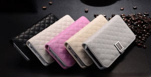 Xuenair Rhombus Sheepskin Wallet Leather Case Cover for iPhone 5 5s;Yellow