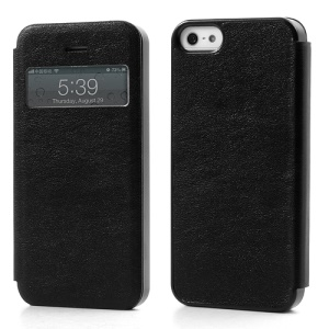 Slim Textured PU Leather Case Open Window for iPhone 5 5s - Black
