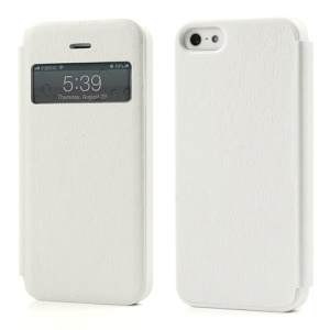Slim Textured PU Leather Cover Open Window for iPhone 5 5s - White