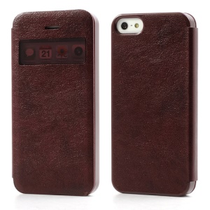 Slim Textured PU Leather Shell Open Window for iPhone 5 5s - Brownish Red