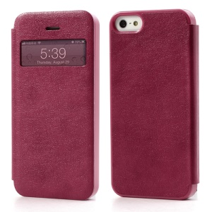 Textured PU Leather Shell Transparent Window for iPhone 5 5s - Rose