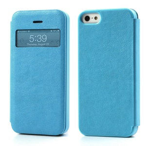 Textured PU Leather Case Open Window for iPhone 5 5s - Baby Blue