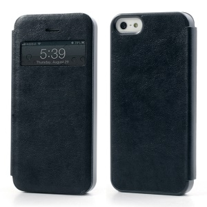 Textured PU Leather Shell Open Window for iPhone 5 5s - Dark Blue