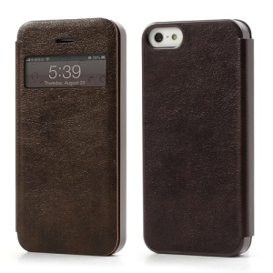 Textured PU Leather Cover Transparent Window for iPhone 5 5s - Brown