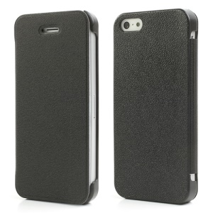 Black Mcover for iPhone 5s 5 Ultra Thin Slim Leather Case