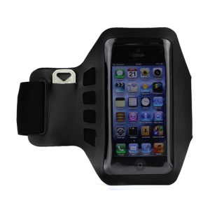 Small Polka Dots Gym Running Sport Soft Armband Cover for iPhone 5 - Black