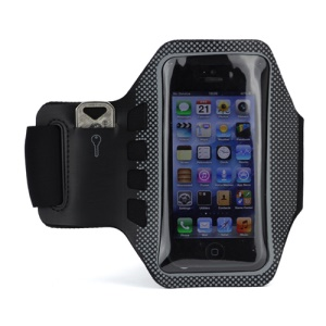 Small Polka Dots Gym Running Sport Soft Armband Cover for iPhone 5 - Black / Grey