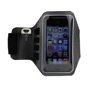 Small Polka Dots Gym Running Sport Soft Armband Cover for iPhone 5 - Black / Silver