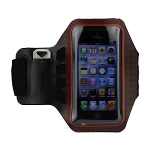 Small Polka Dots Gym Running Sport Soft Armband Cover for iPhone 5 - Black / Orange