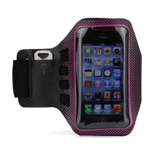 Small Polka Dots Gym Running Sport Soft Armband Cover for iPhone 5 - Black / Rose