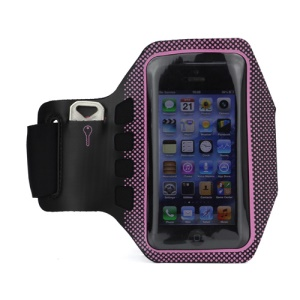 Small Polka Dots Gym Running Sport Soft Armband Cover for iPhone 5 - Black / Pink