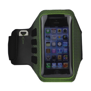 Small Polka Dots Gym Running Sport Soft Armband Cover for iPhone 5 - Black / Green