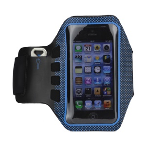 Small Polka Dots Gym Running Sport Soft Armband Cover for iPhone 5 - Black / Blue