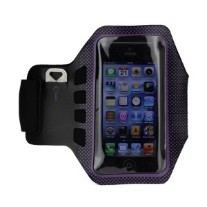 Small Polka Dots Gym Running Sport Soft Armband Cover for iPhone 5 - Black / Purple