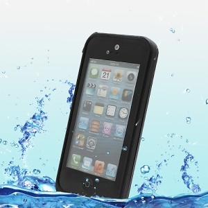 Slim Design Shockproof Dirtproof Waterproof Case for iPhone 5 + Strap - Black