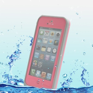Slim Design Shockproof Dirtproof Waterproof Case for iPhone 5 + Strap - Grey / Pink