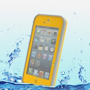 Slim Design Shockproof Dirtproof Waterproof Case for iPhone 5 + Strap - Grey / Yellow