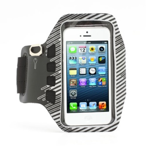 Twill Design Sports Running Gym Arm Band Armband Case Cover for iPhone 5 - Black / Silver