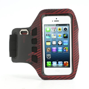 Twill Design Sports Running Gym Arm Band Armband Case Cover for iPhone 5 - Black / Red