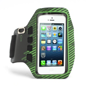 Twill Design Sports Running Gym Arm Band Armband Case Cover for iPhone 5 - Black / Green