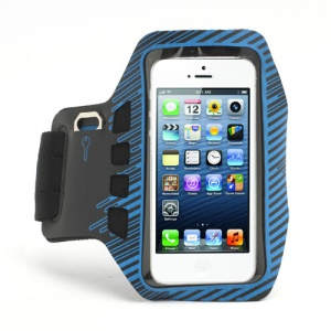 Twill Design Sports Running Gym Arm Band Armband Case Cover for iPhone 5 - Black / Blue