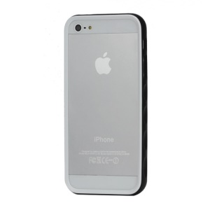 Snap-on Plastic Bumper Frame Case for iPhone 5 - White / Black