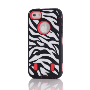 Zebra High Impact PC & Silicone Combo Cases for iPhone 5 - Black / Red